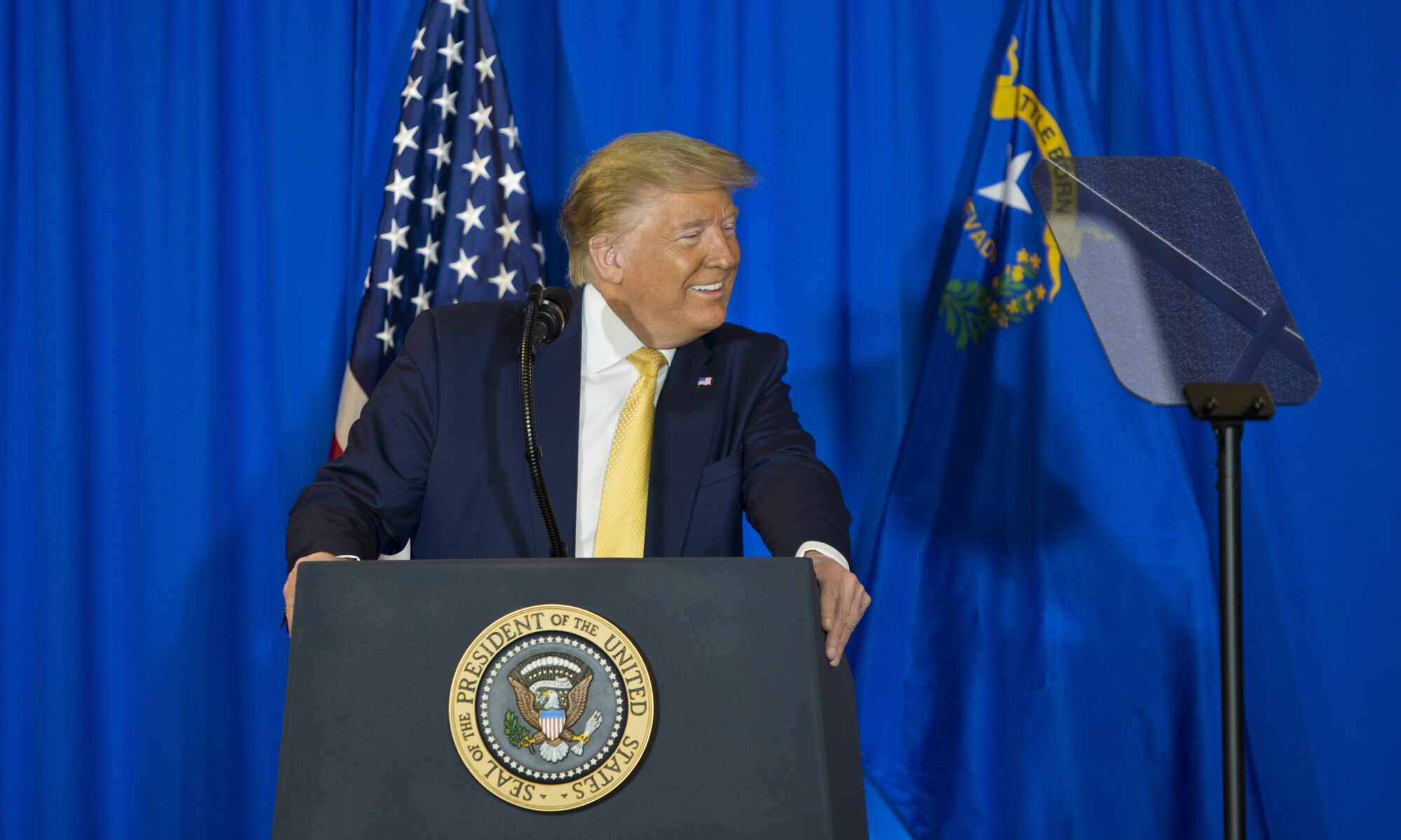President Donald Trump speaks during a Hope For Prisoners special graduation ceremony at the Las Vegas Metropolitan Police Department headquarters in Las Vegas