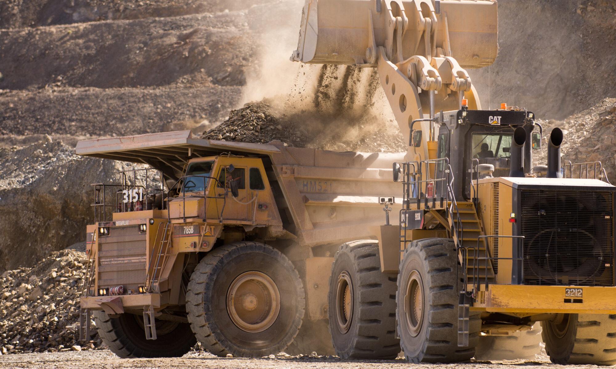 Trucks at mine site.