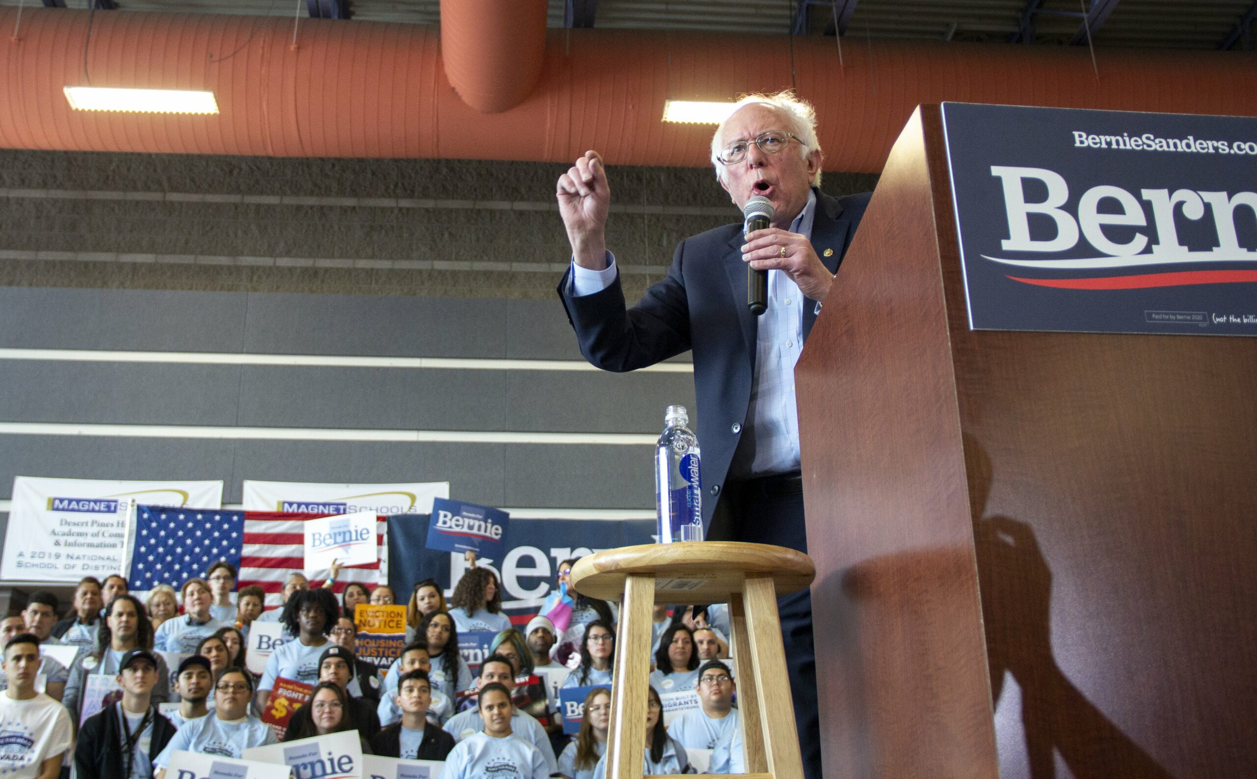 Vermont Sen. Bernie Sanders rallies his supporters on the first day of early voting at Desert Pines High School in Las Vegas