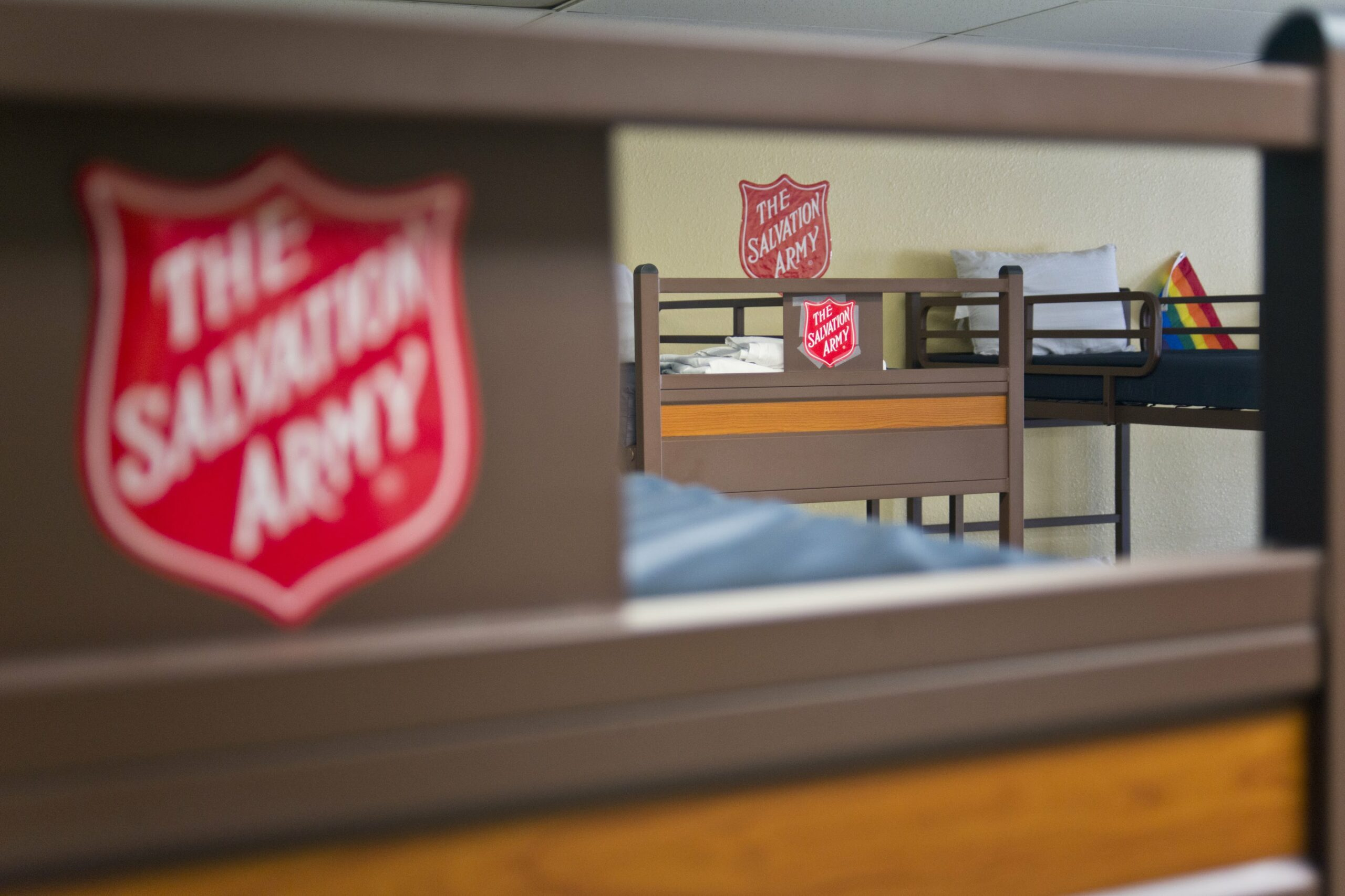 Salvation Army shield on bunk beds in the safety dorm