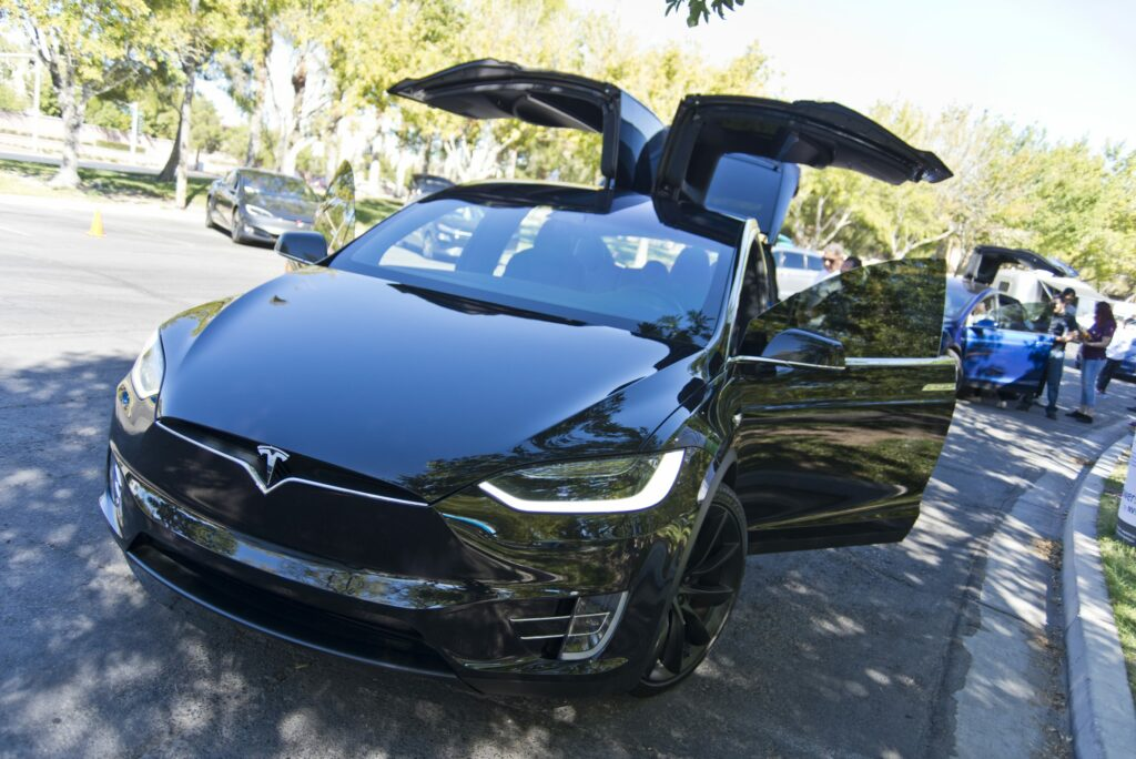Tesla Model X with doors up