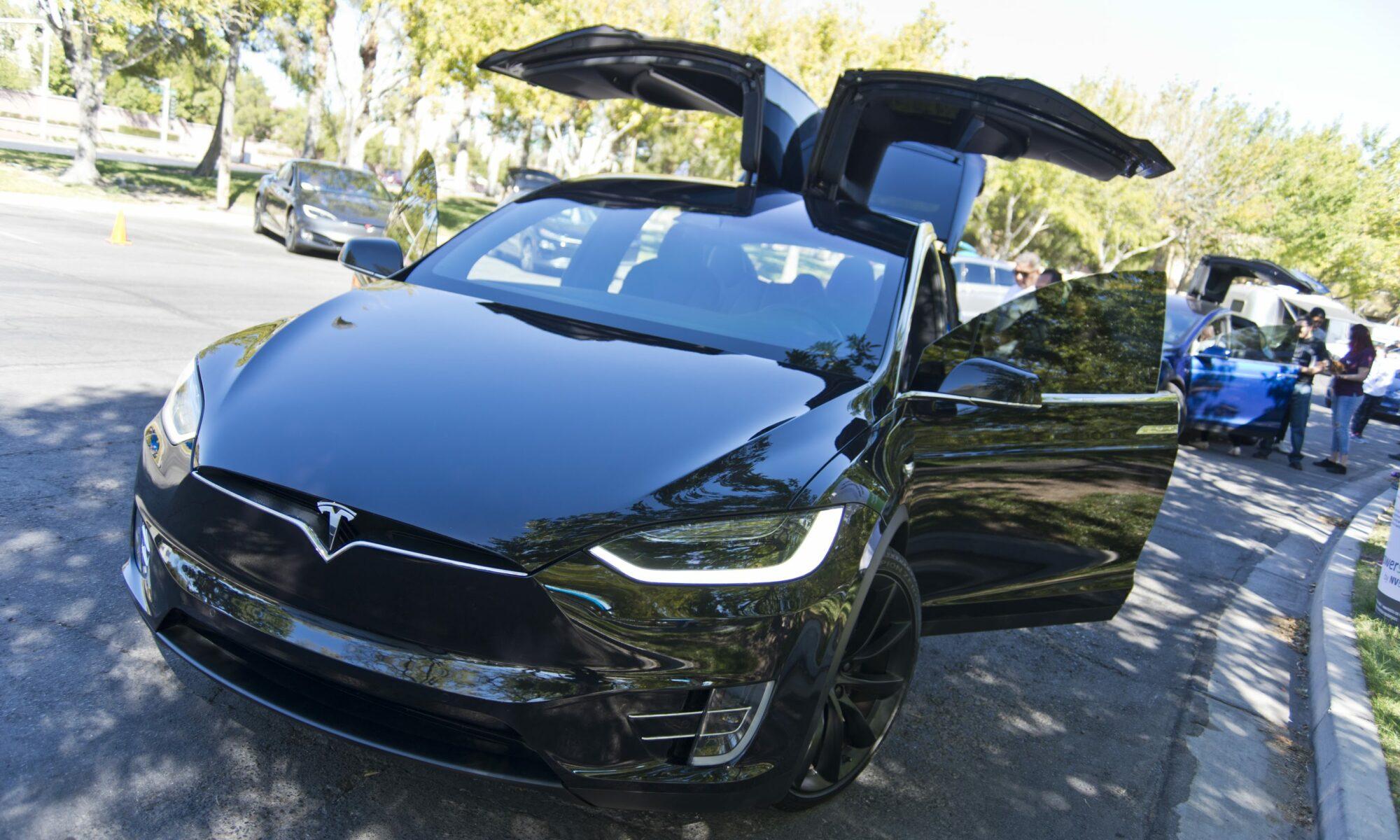 Tesla Model X with doors up