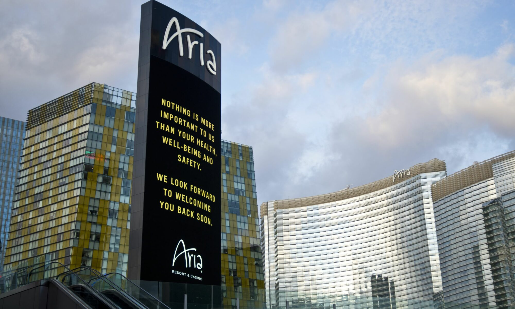 Aria sign with message of noting is more important to us than your health, well-being and safety. We look forward to welcoming you back soon.