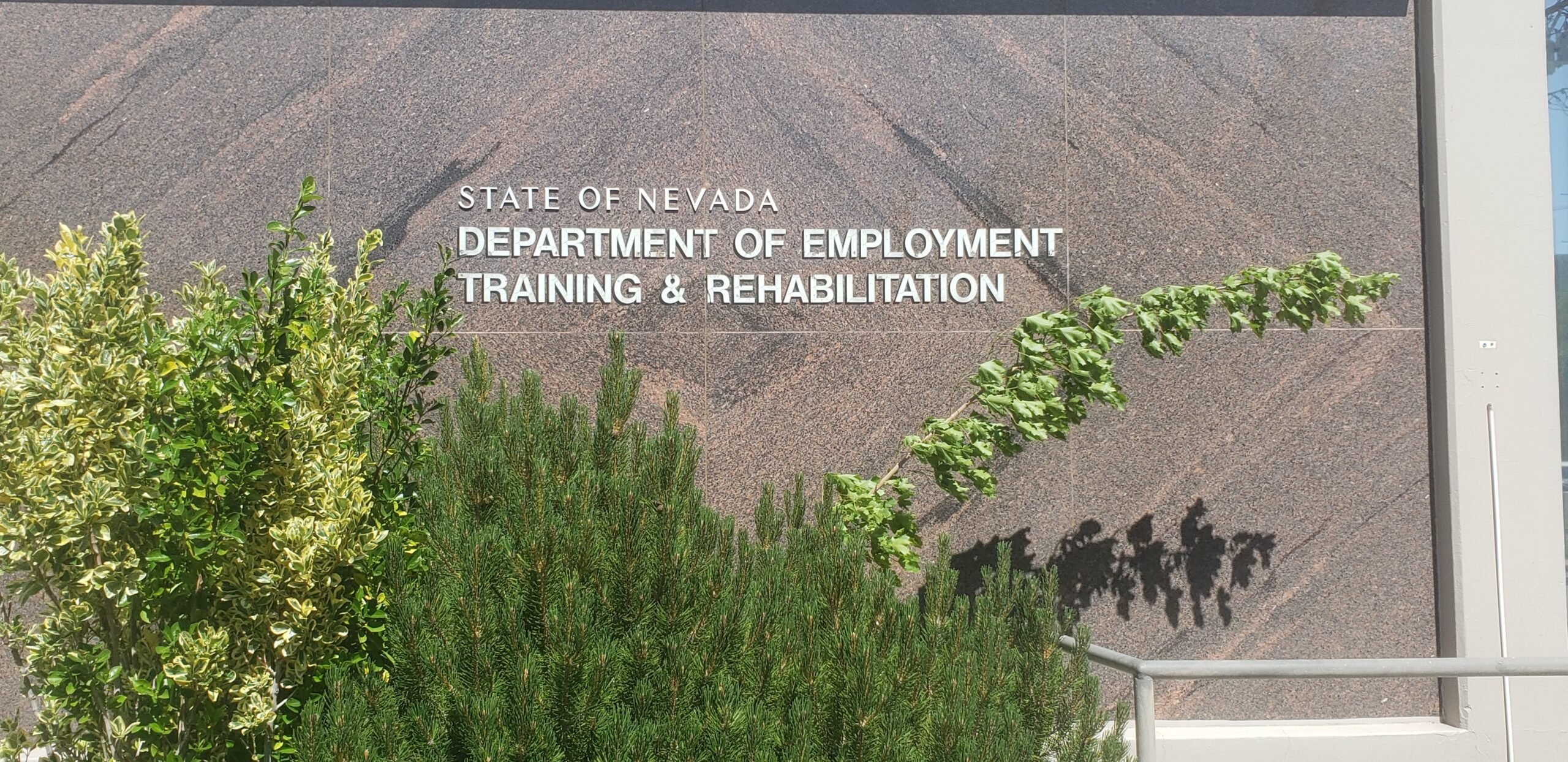 A sign that for the Department of Employment, Training & Rehabilitation