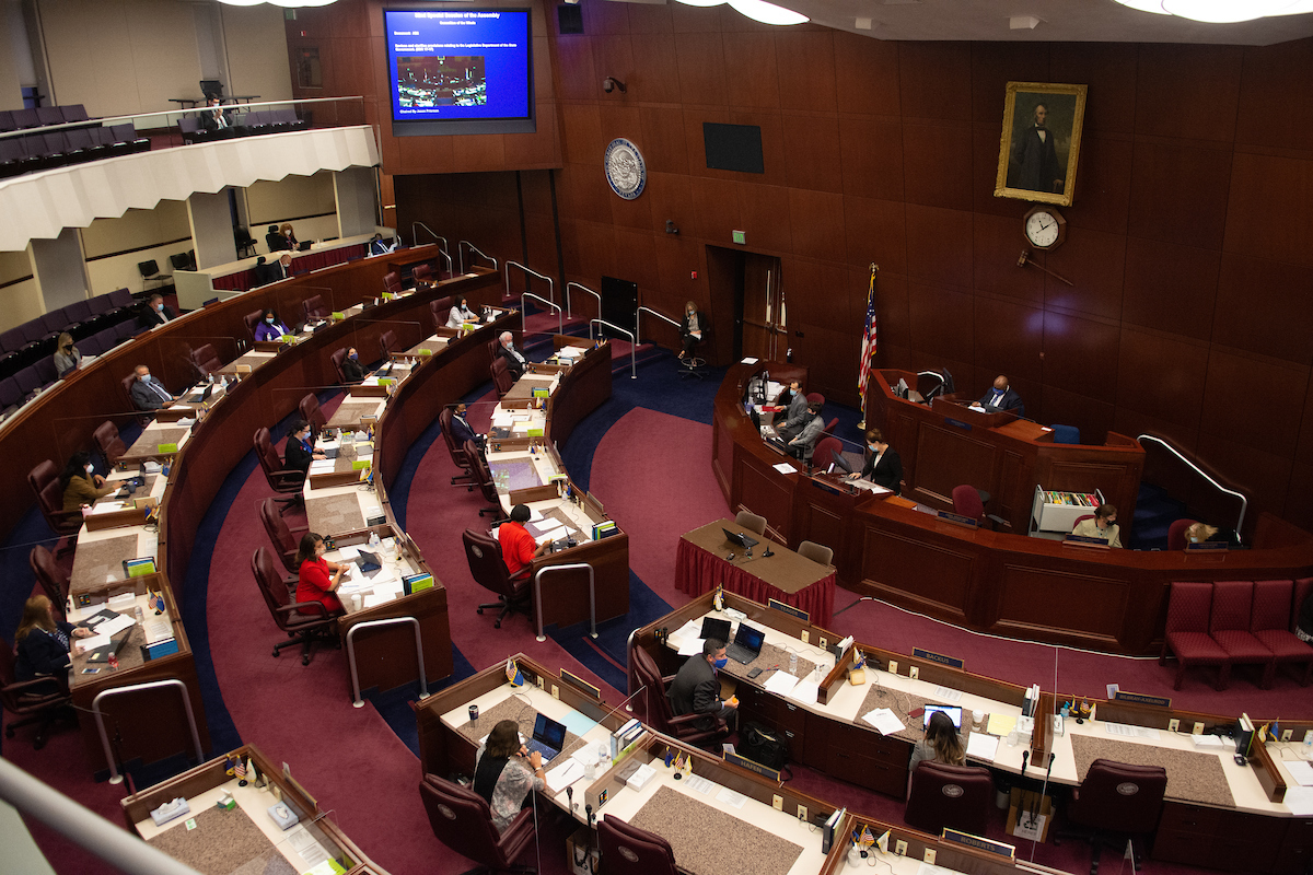 The Assembly chambers on Friday, July 31, 2020 during the first day of the 32nd Special Session of the Legislature in Carson City.