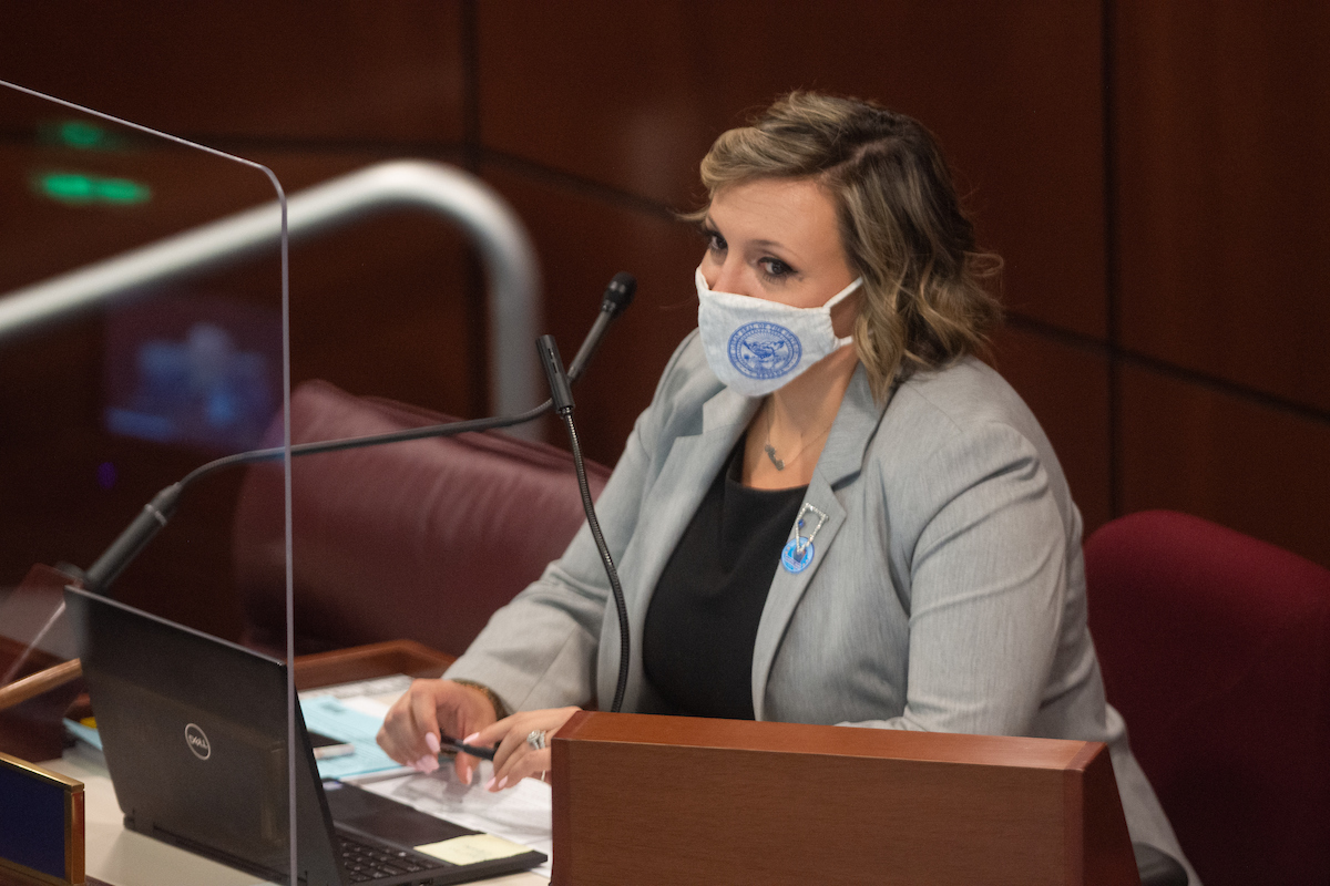 State Senate Majority Leader Nicole Cannizzaro on Friday, July 31, 2020 during the first day of the 32nd Special Session of the Legislature in Carson City.