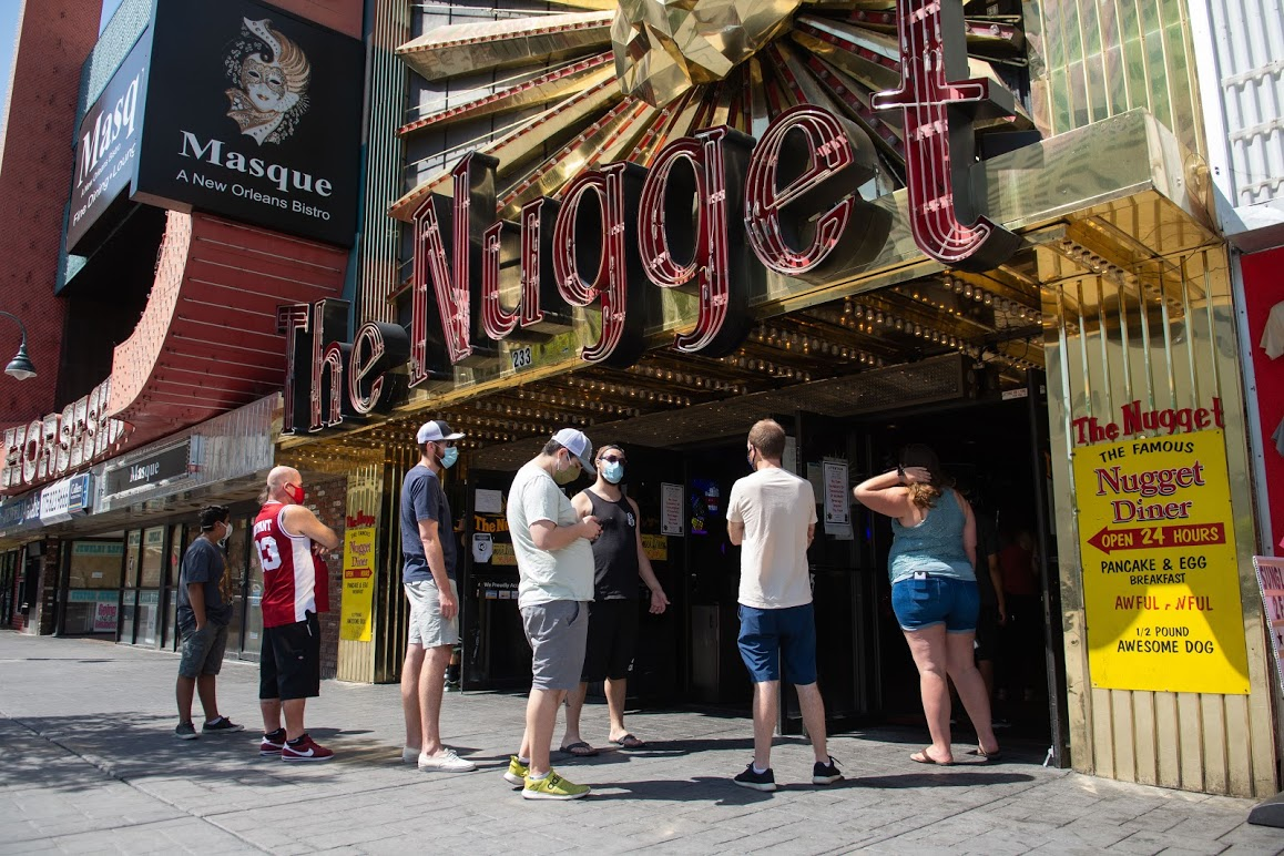 People waiting outside the Nugget casino in Reno