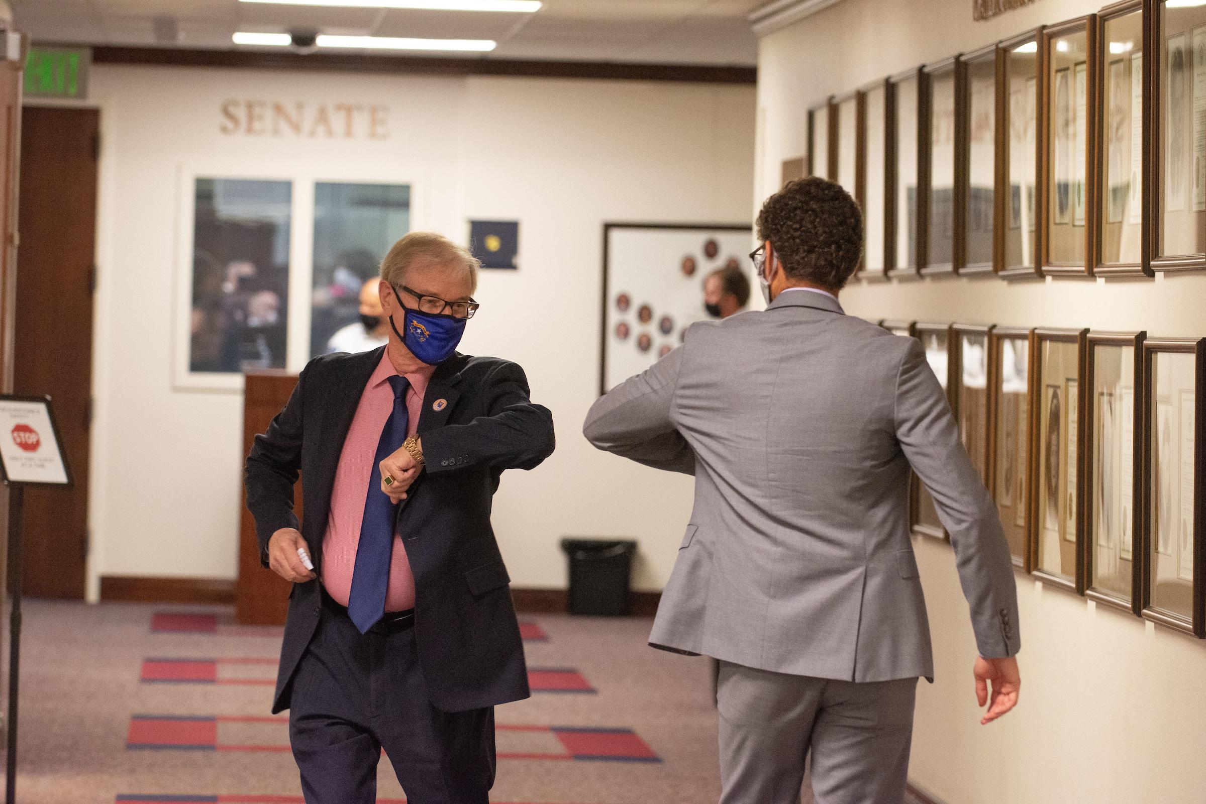 State Senator David Parks, left, greets, Assemblyman Howard Watts II