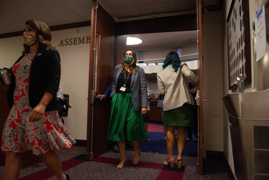 Assembly members leave the chambers