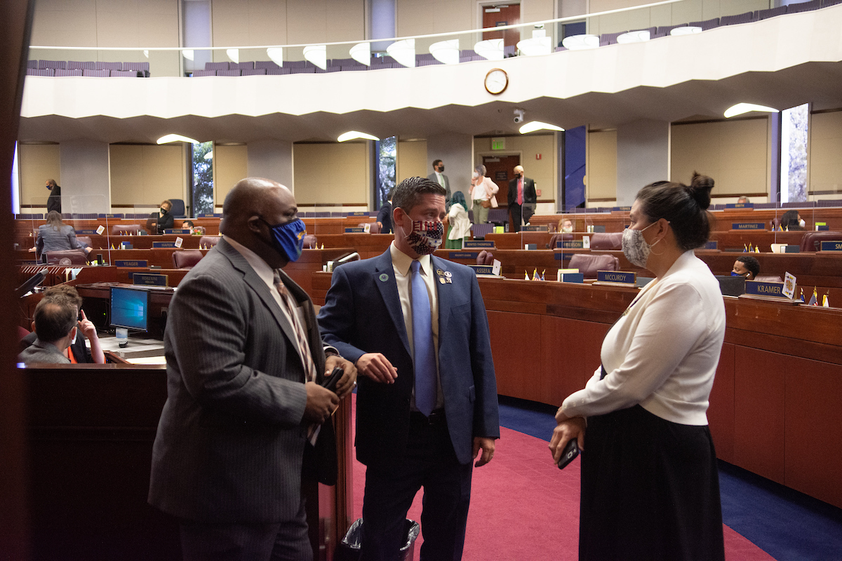 From left, Assembly Speaker Jason Frierson, Speaker Pro Tempore Steve Yeager and Assemblywoman Rochelle Nguyen