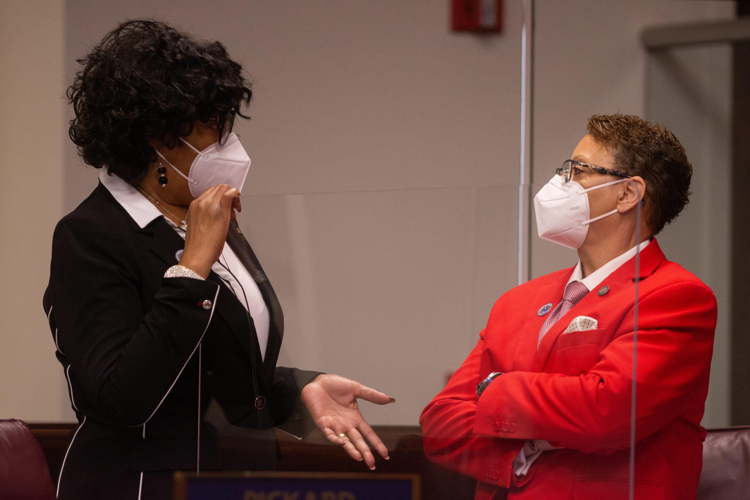 State Senators Marcia Washington, left, and Pat Spearman