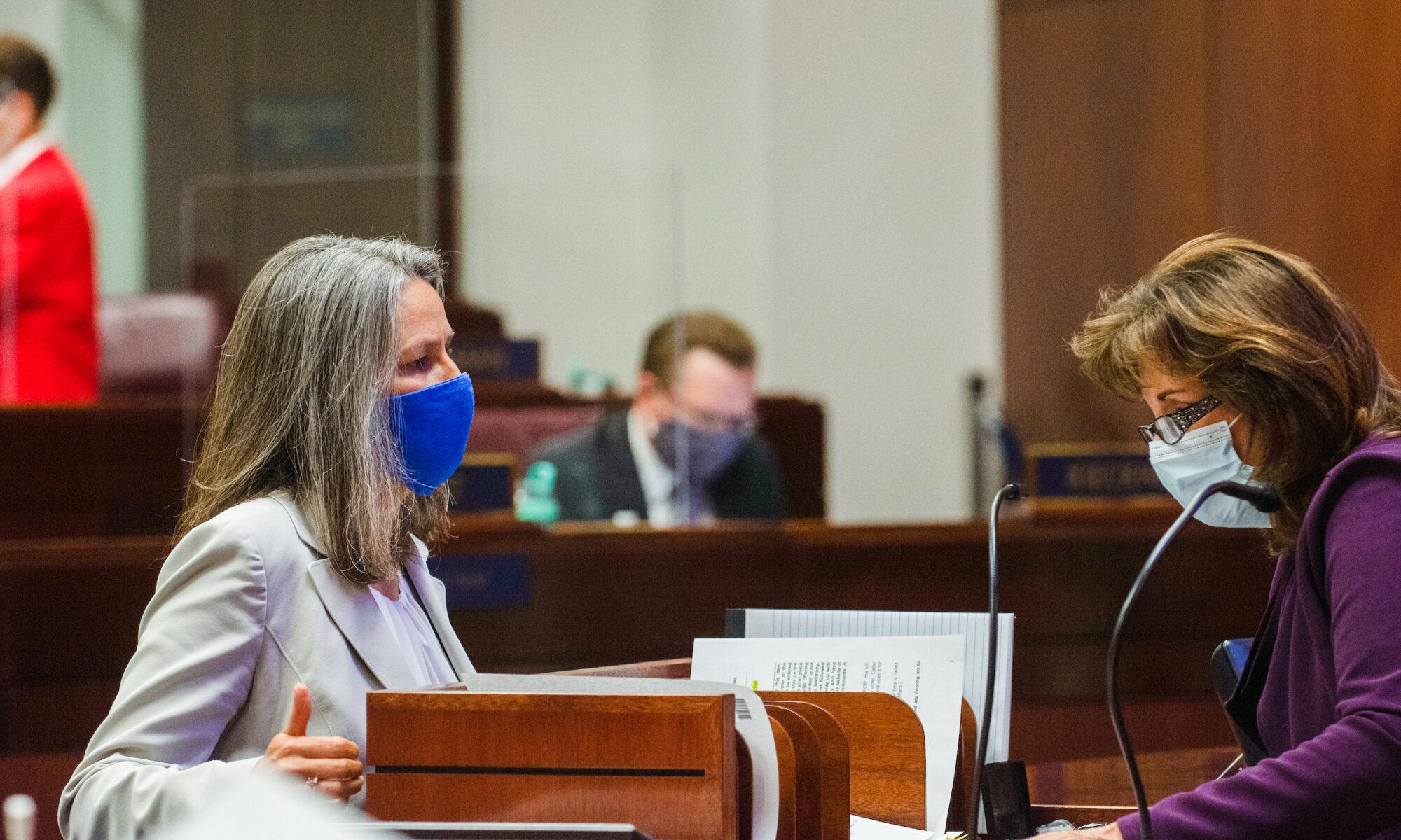 State Senator Julia Ratti speaks with Secretary of the Senate Claire Clift
