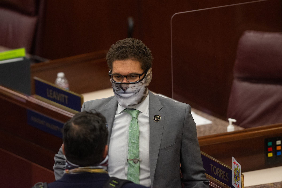 Assemblyman Howard Watts wearing a great sport coat and green tie while wearing an animal print face mask