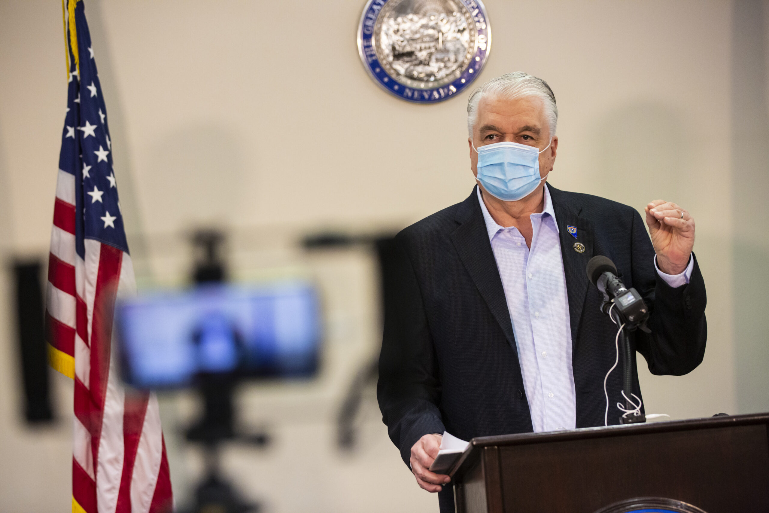 Sisolak speaks during press conference