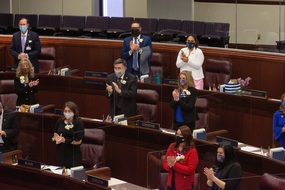 Members of the Assembly in the chamber.