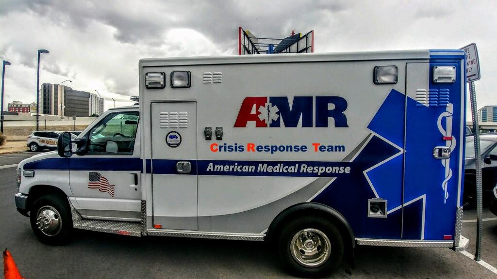 An American Medical Response Crisis Response Team vehicle