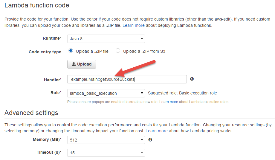 AWS Lambda Function Upload in Console