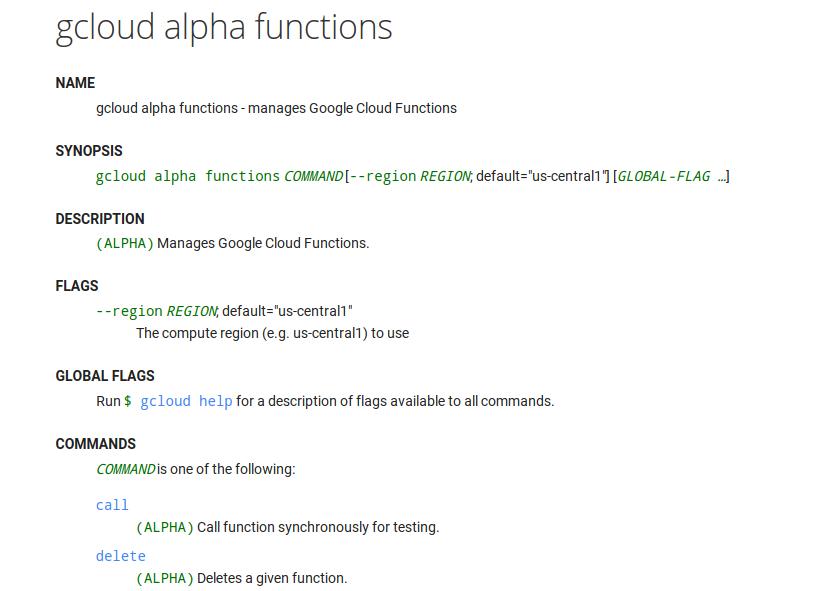 Google Cloud Alpha Functions