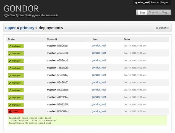 Gondor: Primary Deployments, Original Dashboard