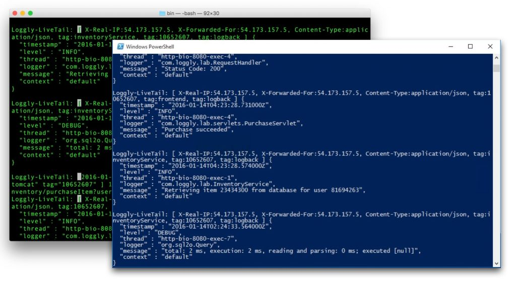 Loggly LiveTail Running in Windows PowerShell and an OSX Terminal