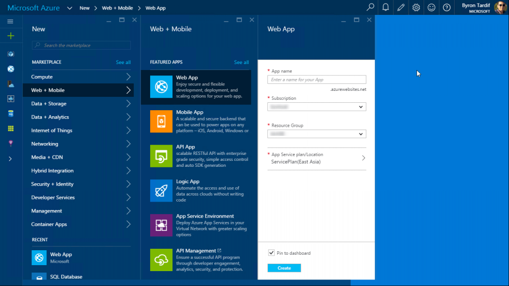 Microsoft Azure: Web App Creation