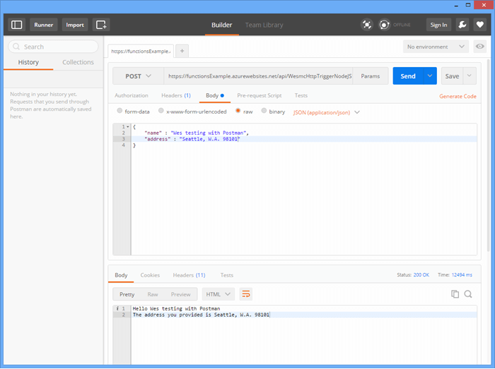 Testing Azure Functions with Postman