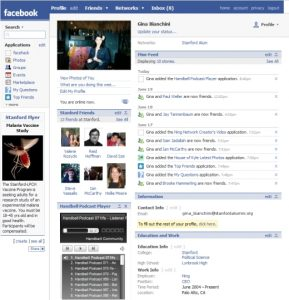 Facebook's page in 2007
