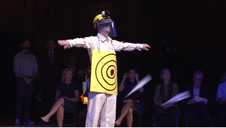 The Ig Nobel awards ceremony - paper airplane targe