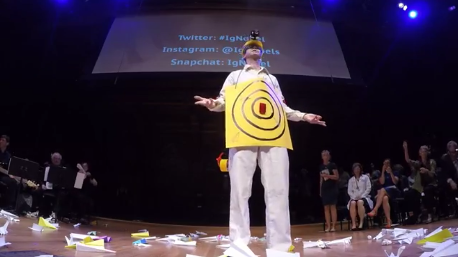 The 2017 Ig Nobel awards ceremony - paper airplane deluge (with human aerodrome
