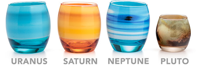 Planetary glass set from ThinkGeek - pluto is smaller.