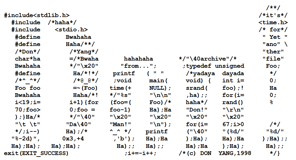 Don Yang obfuscated C source code spells his name