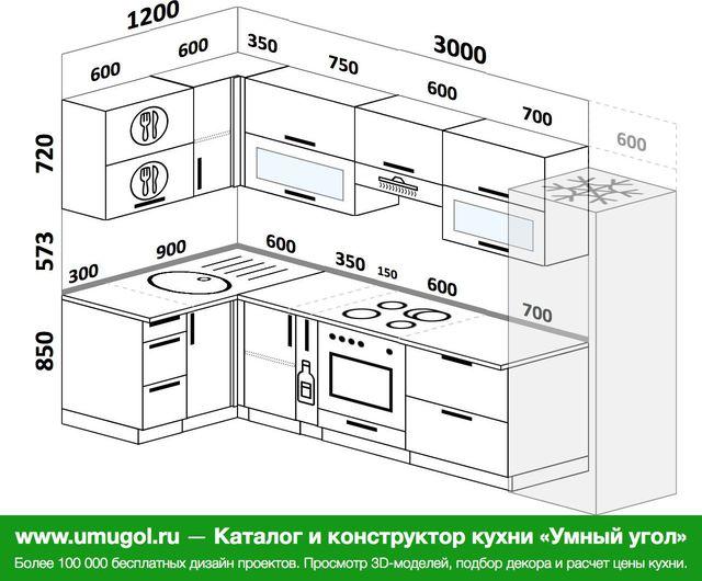 Планировка угловой кухни 6,3 м², 120 на 300 см (зеркальный проект)