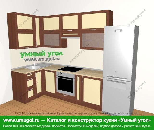 Угловая кухня из рамочного МДФ 6,3 м², 1200 на 3000 мм (зеркальный проект), Вишня темная / Крем: верхние модули 920 мм, посудомоечная машина, встроенный духовой шкаф, корзина-бутылочница, холодильник