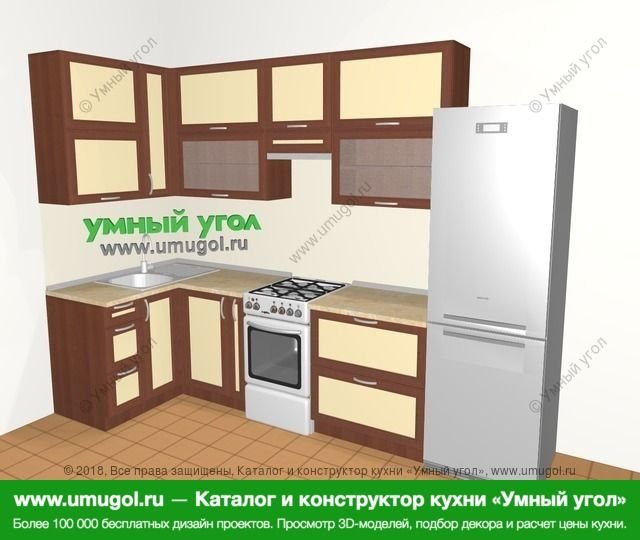 Угловая кухня из рамочного МДФ 6,3 м², 1200 на 3000 мм (зеркальный проект), Вишня темная / Крем: верхние модули 920 мм, корзина-бутылочница, отдельно стоящая плита, холодильник