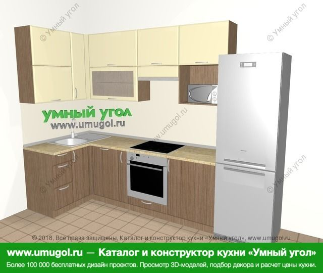 Угловая кухня МДФ матовый 6,3 м², 1200 на 3000 мм (зеркальный проект), Ваниль / Лиственница бронзовая: верхние модули 920 мм, посудомоечная машина, корзина-бутылочница, встроенный духовой шкаф, холодильник, верхний витринный модуль под свч
