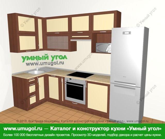 Угловая кухня из рамочного МДФ 6,3 м², 1200 на 3000 мм (зеркальный проект), Вишня темная / Крем: верхние модули 920 мм, посудомоечная машина, корзина-бутылочница, встроенный духовой шкаф, холодильник, верхний витринный модуль под свч