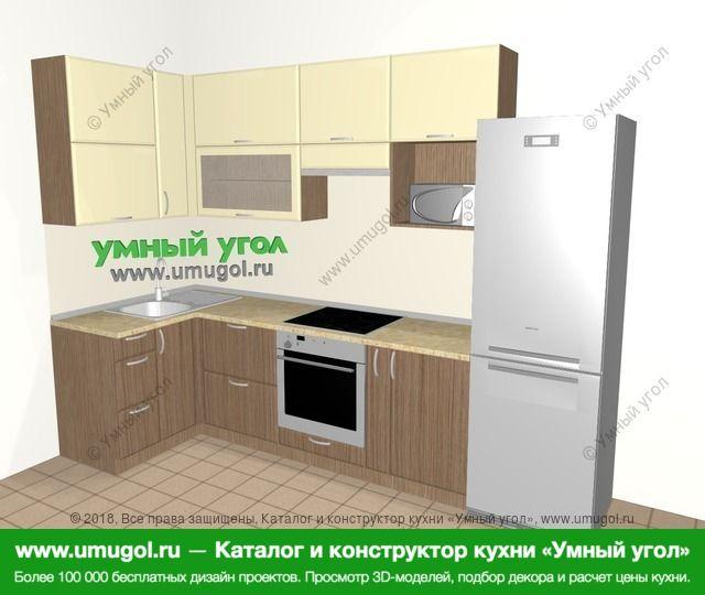 Угловая кухня МДФ матовый 6,3 м², 1200 на 3000 мм (зеркальный проект), Ваниль / Лиственница бронзовая: верхние модули 920 мм, встроенный духовой шкаф, корзина-бутылочница, холодильник, верхний витринный модуль под свч