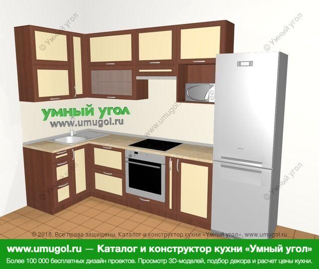 Угловая кухня из рамочного МДФ 6,3 м², 1200 на 3000 мм (зеркальный проект), Вишня темная / Крем: верхние модули 920 мм, встроенный духовой шкаф, корзина-бутылочница, холодильник, верхний витринный модуль под свч