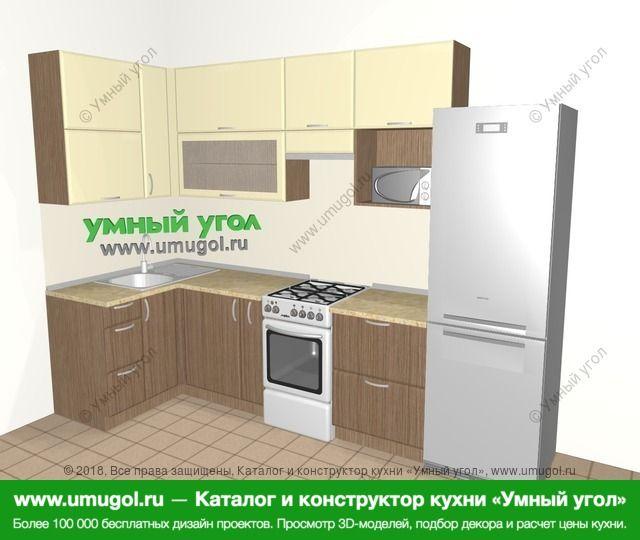 Угловая кухня МДФ матовый 6,3 м², 1200 на 3000 мм (зеркальный проект), Ваниль / Лиственница бронзовая: верхние модули 920 мм, корзина-бутылочница, отдельно стоящая плита, холодильник, верхний витринный модуль под свч