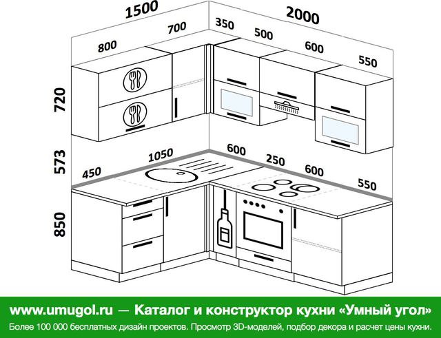 Планировка угловой кухни 5,0 м², 1500 на 2000 мм (зеркальный проект)