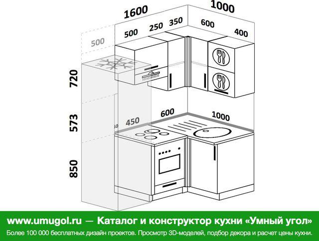 Планировка угловой кухни 5,0 м², 160 на 100 см