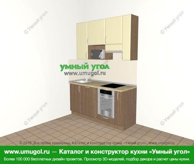 Прямая кухня МДФ матовый 5,0 м², 1600 мм (зеркальный проект), Ваниль / Лиственница бронзовая: верхние модули 920 мм, посудомоечная машина, встроенный духовой шкаф, корзина-бутылочница, верхний витринный модуль под свч