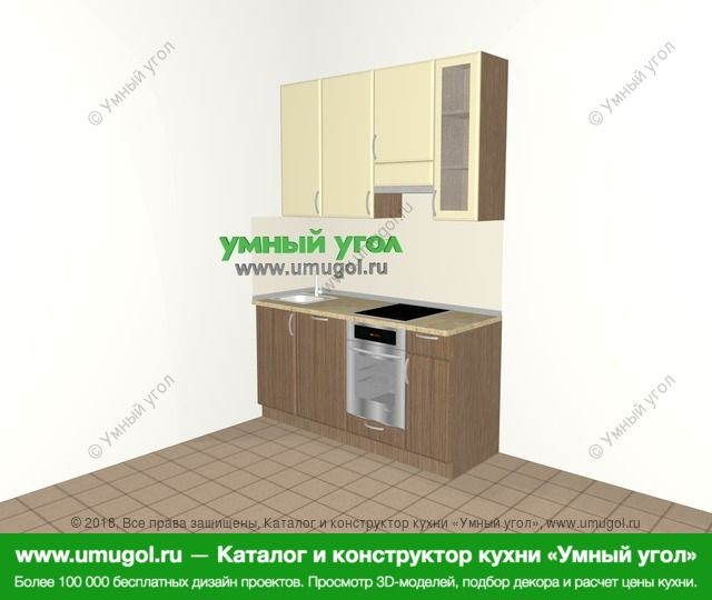 Прямая кухня МДФ матовый 5,0 м², 1600 мм (зеркальный проект), Ваниль / Лиственница бронзовая: верхние модули 920 мм, посудомоечная машина, встроенный духовой шкаф