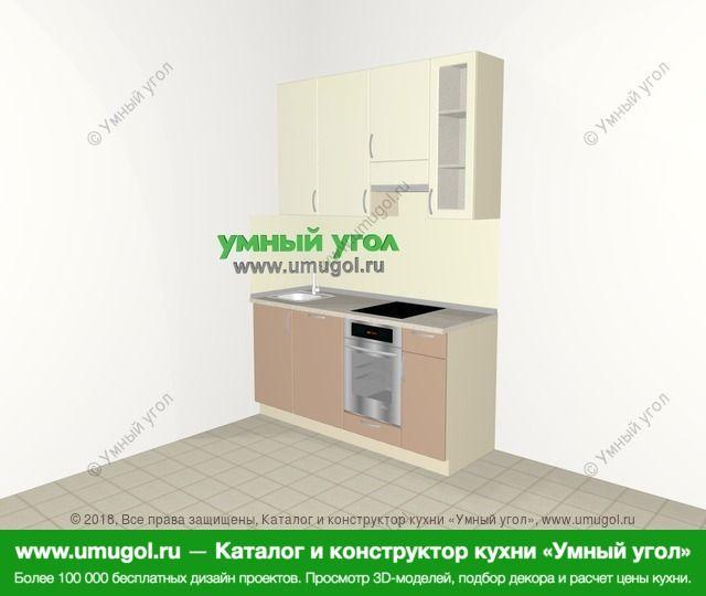 Прямая кухня МДФ глянец 5,0 м², 1600 мм (зеркальный проект), Жасмин / Капучино: верхние модули 920 мм, посудомоечная машина, встроенный духовой шкаф