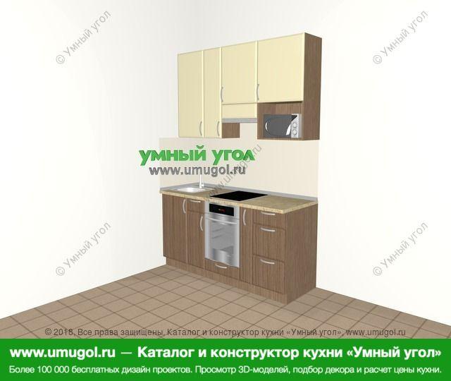 Прямая кухня МДФ матовый 5,0 м², 1600 мм (зеркальный проект), Ваниль / Лиственница бронзовая: верхние модули 920 мм, встроенный духовой шкаф, корзина-бутылочница, верхний витринный модуль под свч