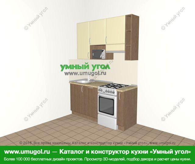 Прямая кухня МДФ матовый 5,0 м², 1600 мм (зеркальный проект), Ваниль / Лиственница бронзовая: верхние модули 920 мм, отдельно стоящая плита, корзина-бутылочница, верхний витринный модуль под свч