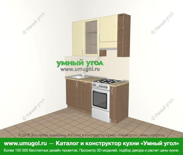 Прямая кухня МДФ матовый 5,0 м², 1600 мм (зеркальный проект), Ваниль / Лиственница бронзовая: верхние модули 920 мм, отдельно стоящая плита, корзина-бутылочница