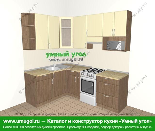 Угловая кухня МДФ матовый 5,5 м², 1600 на 2200 мм (зеркальный проект), Ваниль / Лиственница бронзовая: верхние модули 920 мм, корзина-бутылочница, отдельно стоящая плита, модуль под свч