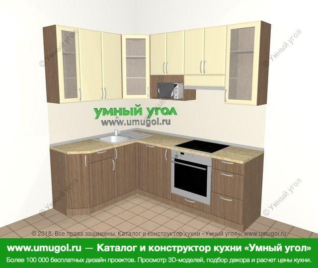 Угловая кухня МДФ матовый 5,5 м², 1600 на 2200 мм (зеркальный проект), Ваниль / Лиственница бронзовая: верхние модули 920 мм, посудомоечная машина, корзина-бутылочница, встроенный духовой шкаф, модуль под свч