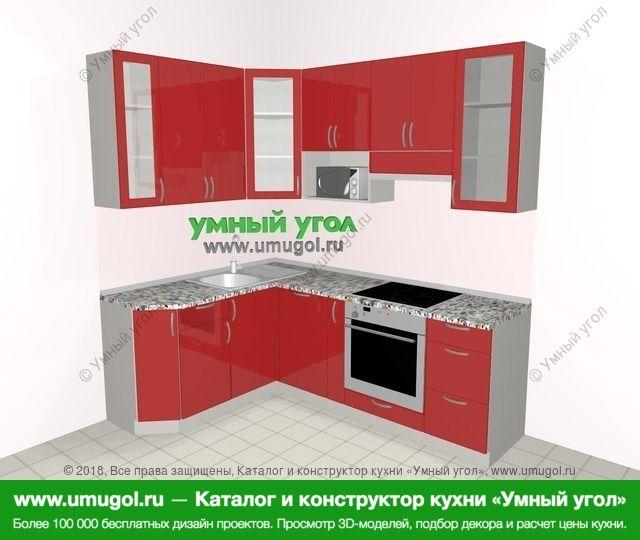 Угловая кухня МДФ глянец 5,5 м², 1600 на 2200 мм (зеркальный проект), Красный: верхние модули 920 мм, посудомоечная машина, корзина-бутылочница, встроенный духовой шкаф, модуль под свч